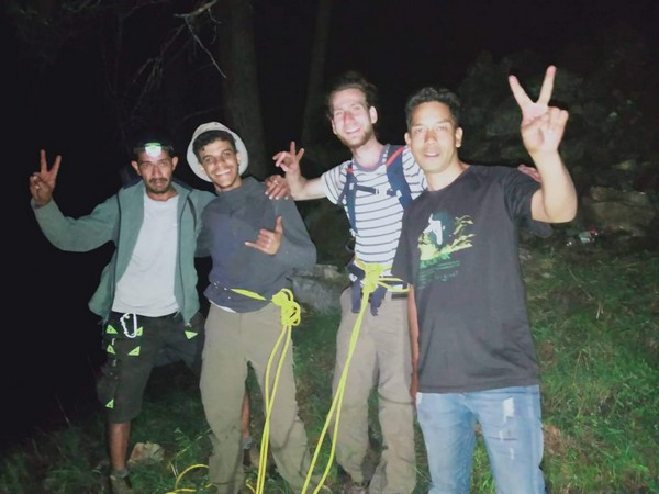 Israeli trekkers with their rescuers in Himachal valley