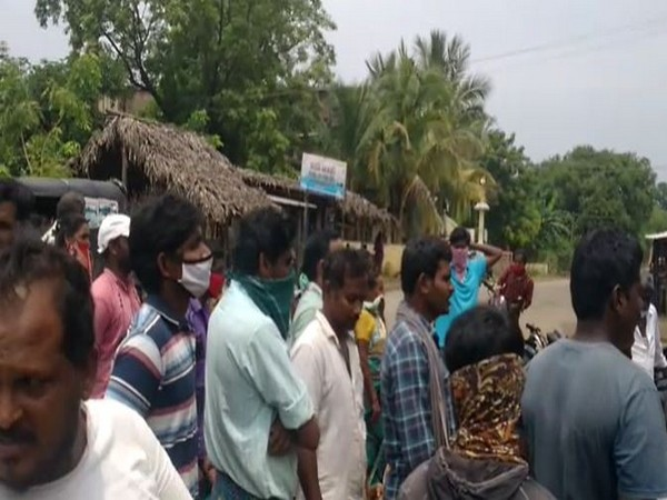Flood victims protest outside the Tehsildar's office in East Godavari district on Thursday. (Photo/ANI)