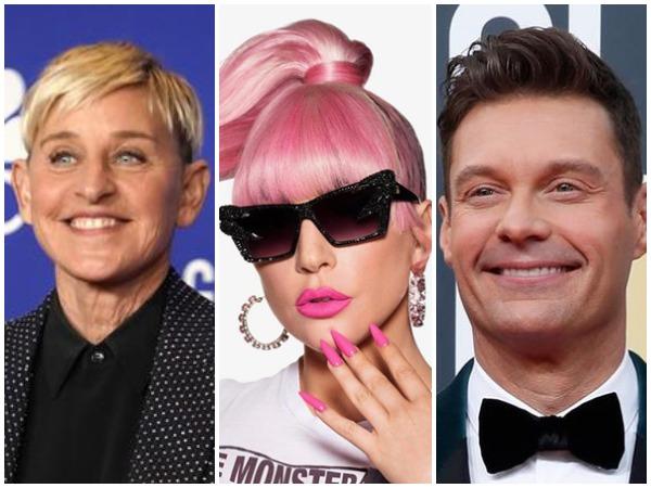 Ellen DeGeneres, Lady Gaga and Ryan Seacrest