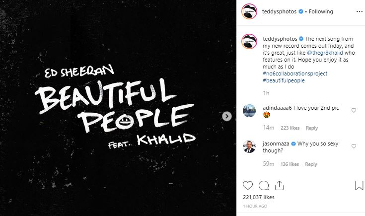 Here's when Ed Sheeran's 'Beautiful People' will be out