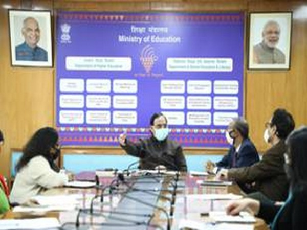 Union Minister of Education Ramesh Pokhriyal 'Nishank' at the meeting on Thursday.