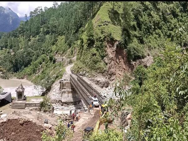 The Border Road Organisation (BRO) constructed a 180 feet long bailey bridge in the cloudburst-hit Jauljibi sector (Photo/ANI)