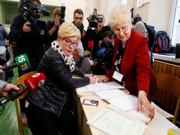Presidential candidate Ingrida Simonyte attends first round of Lithuanian Presidential election in Vilnius, Lithuania, on Sunday