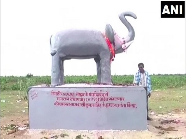 Statue of Elephant installed at Kukradih village in Mahasamund Chhattisgarh