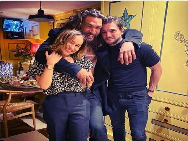 Emilia Clarke posing with her co-actors Jason Momoa and Kit Harrington (Image courtesy: Instagram)