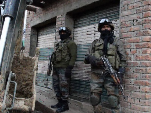 Visual of the the encounter  in Gadapora area of South Kashmir's Shopian district. Photo.ANI