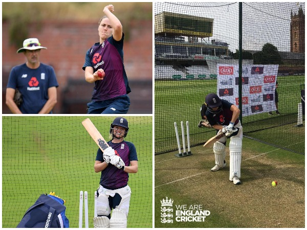 England women cricketers at practice session (Photo/England Cricket Twitter)