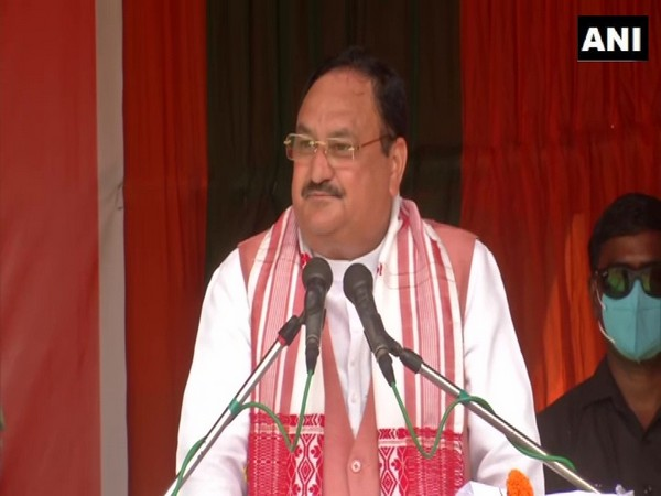 BJP National President JP Nadda addressing an election rally in Rajgarh on Monday.