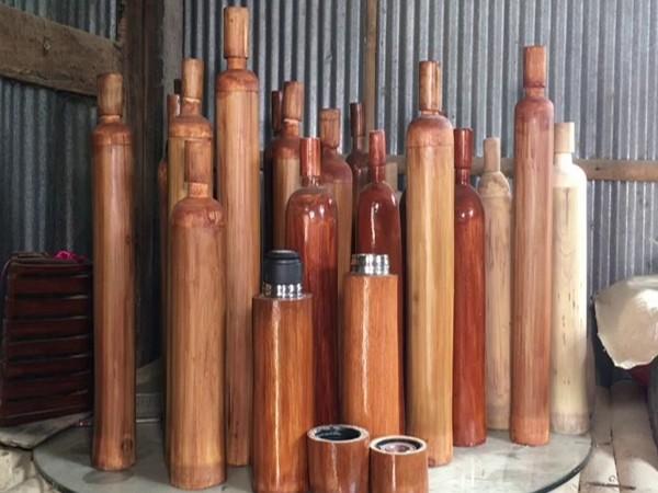 Biswajit Kundu's bamboo waterbottles. (Photo/ANI)