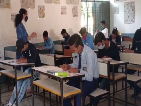 Students appearing for the improvement exams at Government Inter College, Moradabad. Uttar Pradesh. (Photo/ANI)