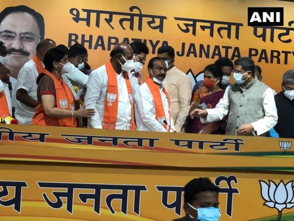 Former Telangana Minister Eatala Rajender joins BJP. (Photo/ ANI)