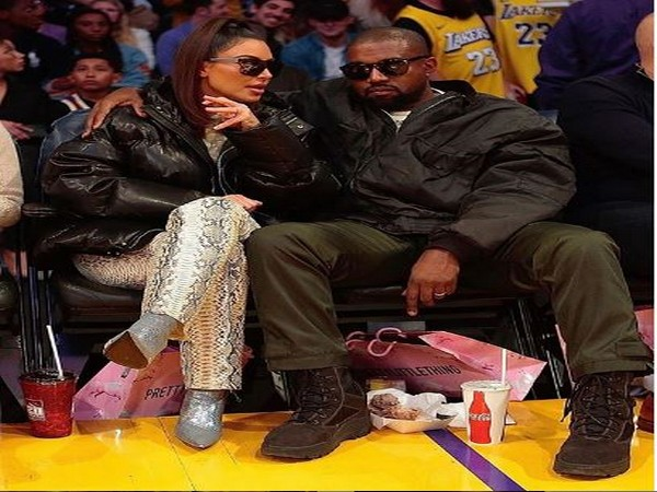 Kim Kardashian West with husband Kanye West at the Lakers Game in Los Angeles.