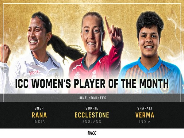 Rana, Shafali and Ecclestone have been nominated for the ICC Women's Player of the Month (Photo: ICC Cricket)