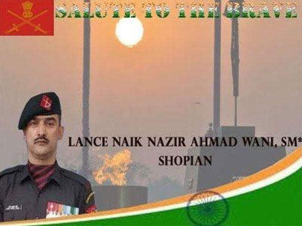 File photo of Lance Naik Nazir Ahmad Wani (Source: Army)