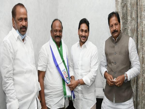 Former MLA from the Telugu Desam Party (TDP) Mantena Ananta Varma joins the YSRCP. (Photo/ANI)