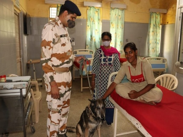 ITBP's retired K9 hero with a patient at ITBP hospital (Photo/ANI)
