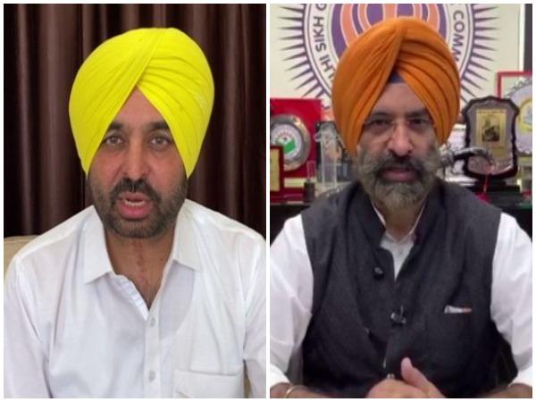 AAP leader Bhagwat Mann (l) and SAD leader Manjinder Singh Sirsa photo/ANI
