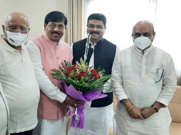 Karnataka Chief Minister-designate Basavaraj Bommai meets Union Minister Dharmendra Pradhan.