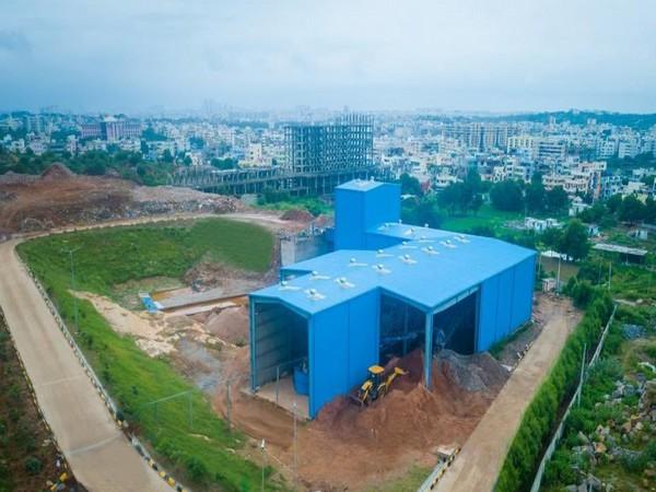 500 metric tonne capacity building waste recycling plant at Jeedimetla. (Photo credit: Kalvakuntla Taraka Rama Rao Twitter account )