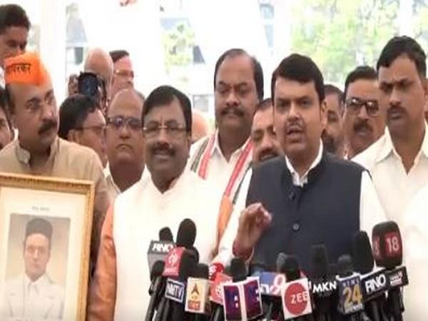 BJP leader Devendra Fadnavis speaking to media on Wednesday.