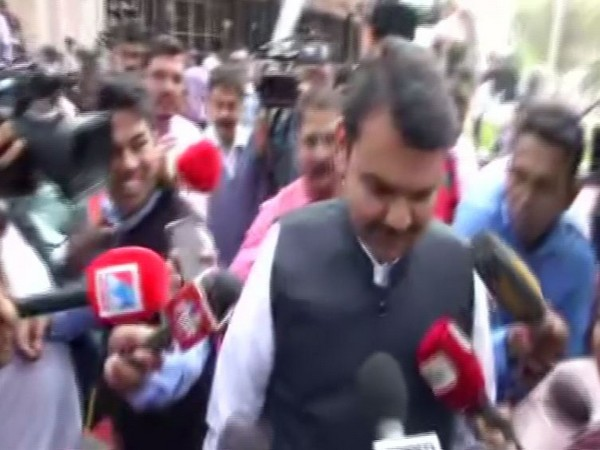 Devendra Fadnavis speaking to reporters on Wednesday in Mumbai. Photo/ANI