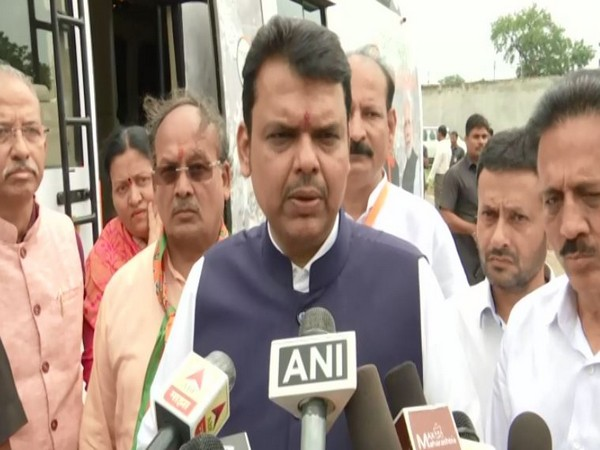 Maharashtra Chief Minister Devendra Fadnavis speaking to reporters on Saturday. Photo/ANI