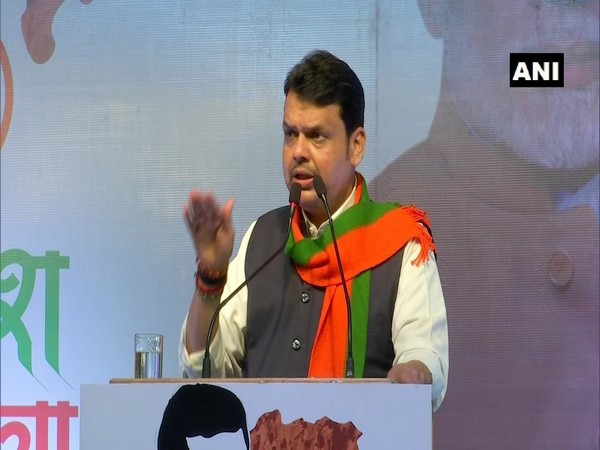 Maharashtra Chief Minister Devendra Fadnavis addressing an event in Gondia on Saturday. (Photo/ANI)