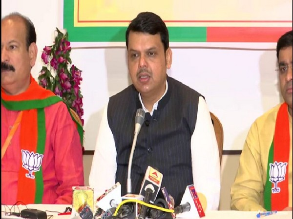 Maharashtra Chief Minister Devendra Fadnavis speaking to reporters in a press conference on Sunday in Gondia. Photo/ANI
