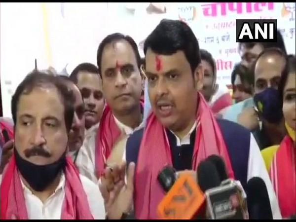 BJP leader Devendra Fadnavis speaks to reporters in Mumbai on Monday. [Photo/ANI]