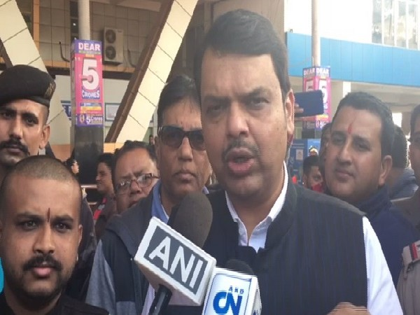 Former Maharashtra Chief Minister Devendra Fadnavis speaking to media in Bagdograi, West Bengal on Tuesday.