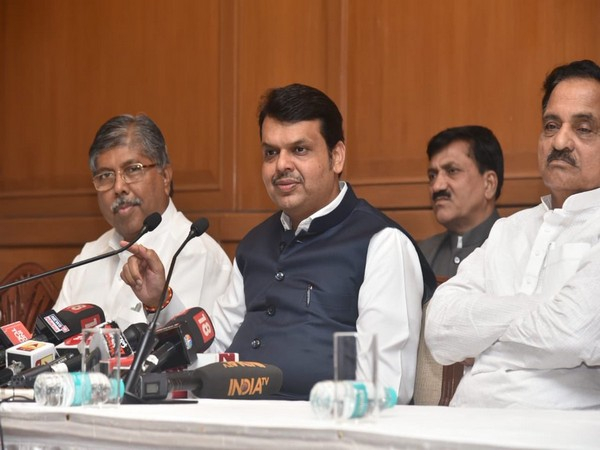 Maharashtra Chief Minister Devendra Fadnavis speaking at a press conference in Mumbai on Sunday. Photo/ANI