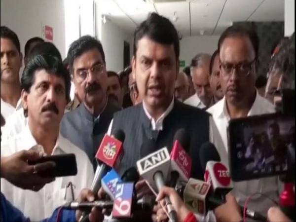 Maharashtra CM Devendra Fadnavis speaking to reporters in Mumbai on Tuesday. Photo/ANI