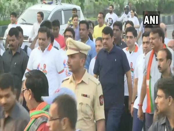 Maharashtra Chief minister Devendra Fadnavis at Marine Drive, Mumbai on Sunday