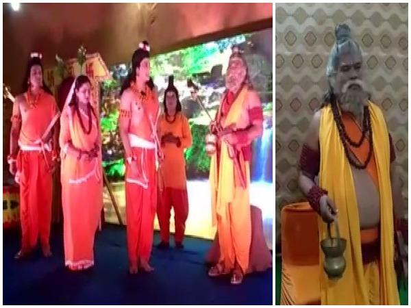 Union Minister Faggan Singh Kulaste playing 'Agastya Muni' in 'Luv Kush Ramlila' on Thursday. Photo/ANI