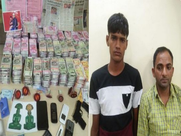 Two held for possessing fake currency notes  amounting Rs 4.77 crore in Jaipur on Wednesday. (Photo/ANI)