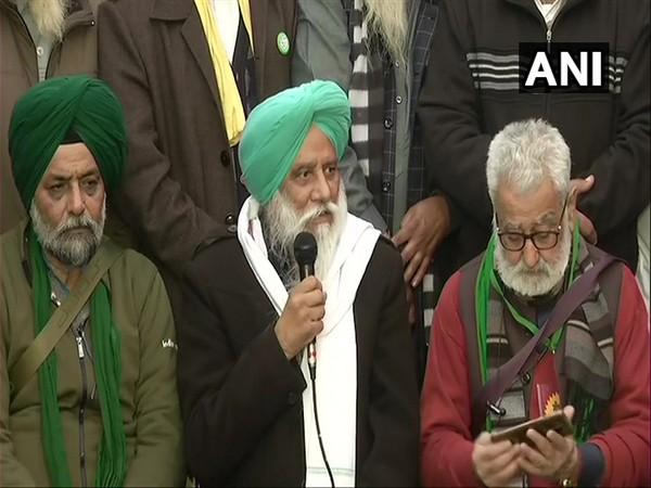 Balbir Singh Rajewal, Bhartiya Kisan Union (R) during a press conference on Tuesday. (Photo/ANI)
