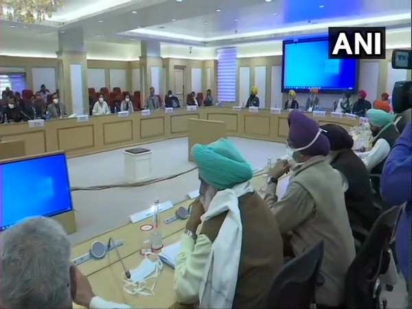 A visual from meeting between leaders of farmer unions and central government at Vigyan Bhawan in New Delhi on Tuesday. (Photo/ANI)