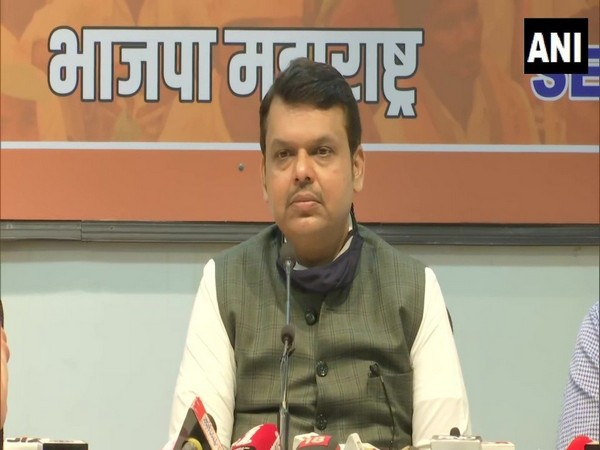 BJP leader Devendra Fadnavis speaking to reporters in Mumbai on Saturday.