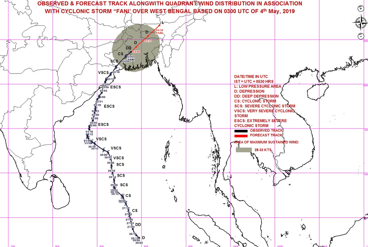 Fani weakened into a deep depression and lay centred over Bangladesh (IMD/Twitter)