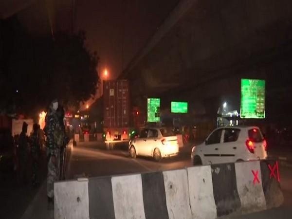At the Delhi-Faridabad border early on Thursday. (Photo/ANI)