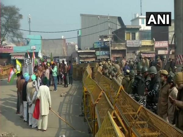 A visual from Tikri border where farmers are protesting against farm laws. (Photo/ANI)
