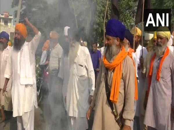 A group of farmers protesting in Amritsar, Punjab on Saturday. Photo/ANI