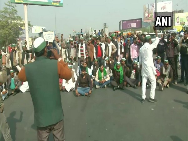 Visuals of protest from Delhi-Ghaziabad border (Photo/ANI)