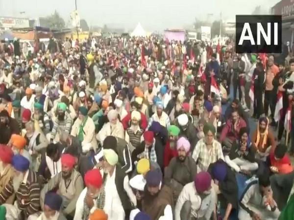 A visual of the farmers' protest at Delhi border on Saturday. Photo/ANI