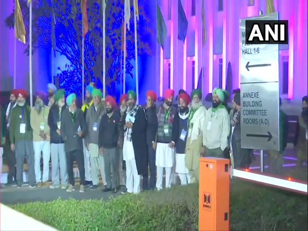 Farmer leaders outside Vigyan Bhawan in New Delhi on Wednesday. (Photo/ANI)