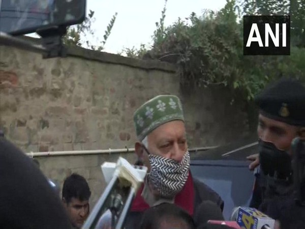 National Conference (NC) president Farooq Abdullah speaking to media on Monday.