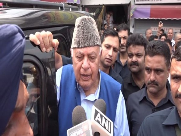National Conference President Farooq Abdullah while talking to media on Monday. Photo/ANI