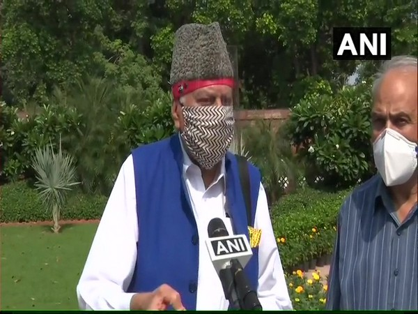 Former JK CM Farooq Abdullah speaking to ANI in New Delhi on Saturday. Photo/ANI