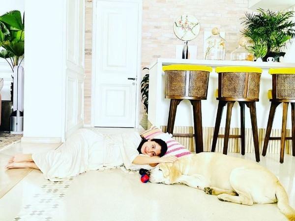 Actor Anushka Sharma with her pet dog