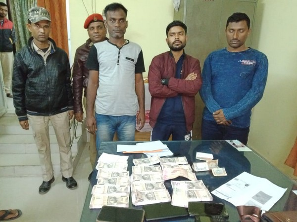 Three persons were apprehended with fake currency notes worth Rs 6,03,500 by Assam police in Silchar on Saturday. Photo/ANI